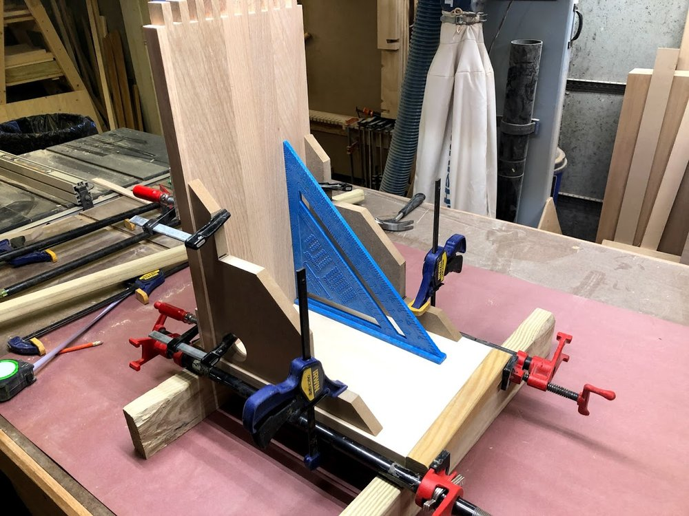 Here is the jigs all clamped up and just to verify that it is indeed 90° using a speed square.