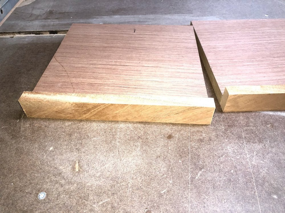 Here is the shelf front blank before doing any shaping to it.
