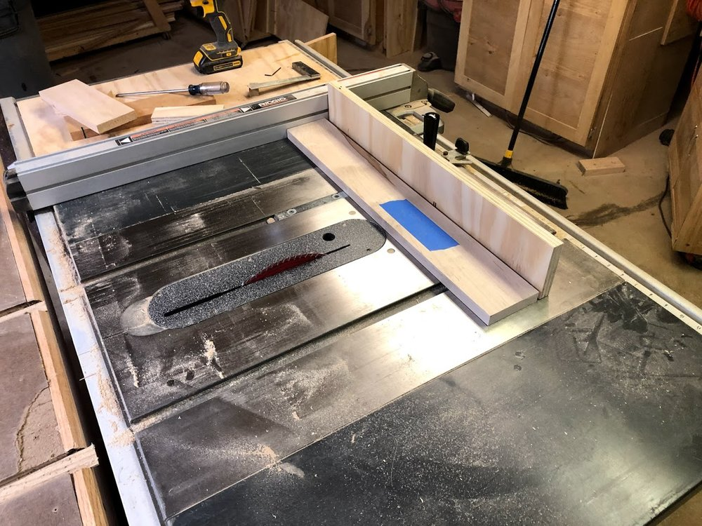 Here is a shot at my workpiece about to crosscut using my Miter Gauge and sacrificial fence.