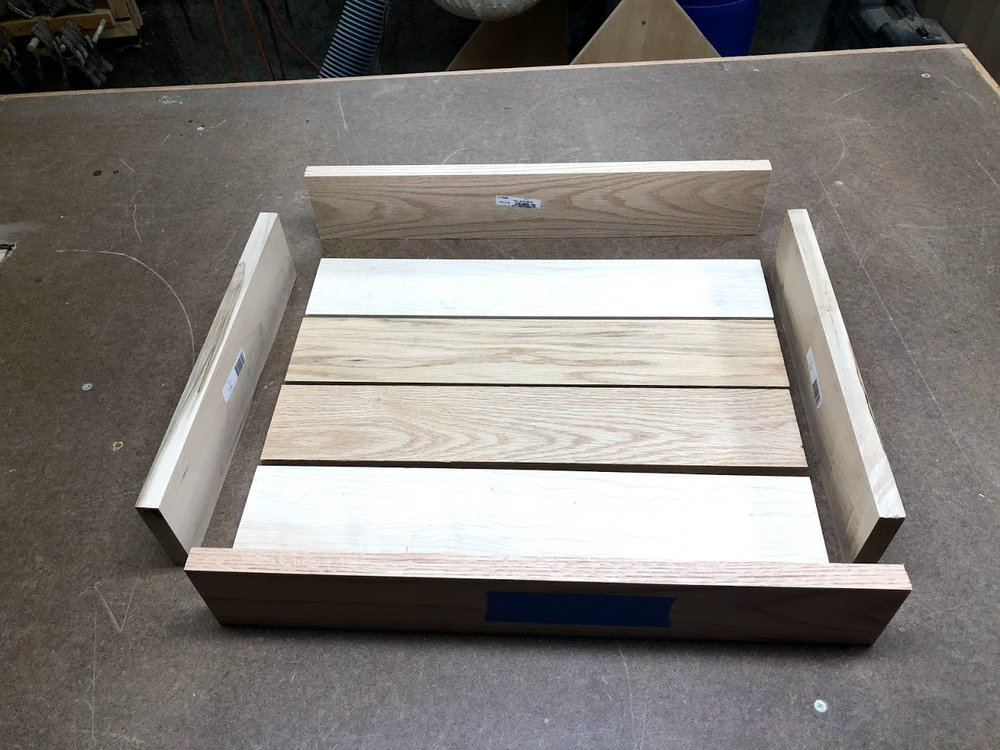 Here are all the pieces needed to make the Serving Tray and they are all cut to their final dimensions, this image shows their actual orientation in the tray.