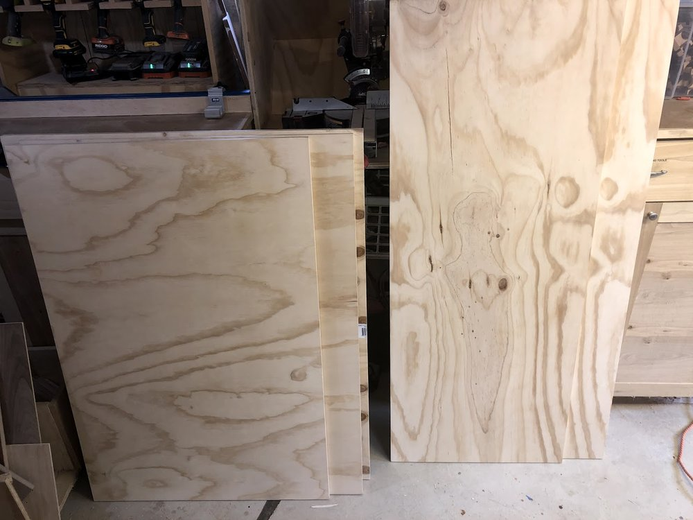 Here is the 2 sheets of plywood cut down to manageable pieces, I had this done at the home center.