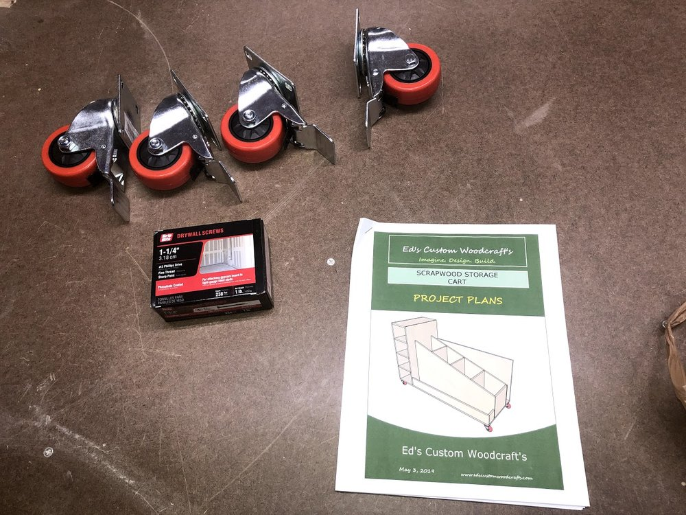 """Here are the 3"""" casters & Screws. I also have my trusty plans to help me build this project especially to help me with dimensions of the various parts of the cart."""