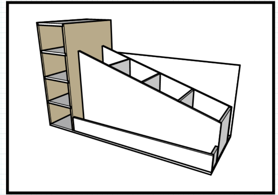 This is the section of the cart that I will be working on first, The Vertical Storage Shelves. Its the brown highlighted section.
