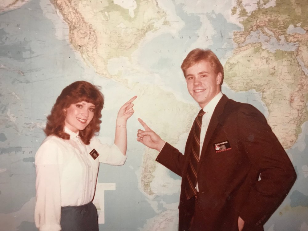 McKenna Denson (left) is pictured at the Provo Missionary Training Center in 1984. Image courtesy of Jessica Lowder, with permission by McKenna Denson.