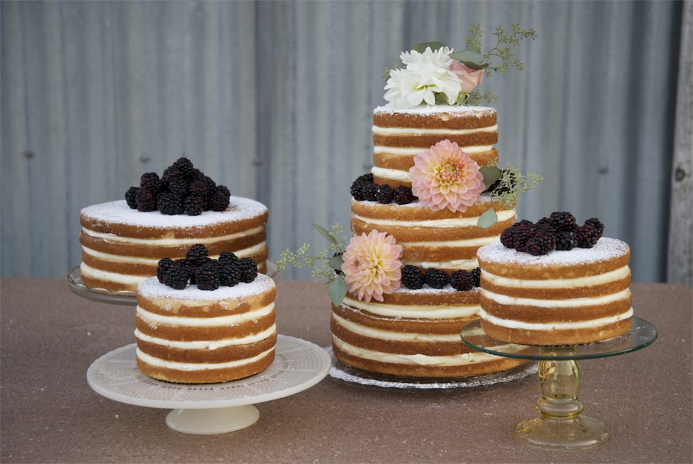 "Our famous ""naked"" wedding cakes."