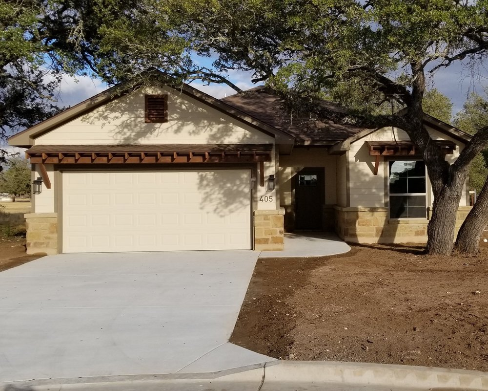 Bertram, Texas Plan# 1441 (SOLD) - Located in Dove Meadows, a new Bertram subdivision featuring 80 homesites.1441 square feet3 bedroom2 bathroom2 car garage405 Dove Trail SOLD.***Contact us if you would like to visit about building this home in Dove Meadows or on your own lot***
