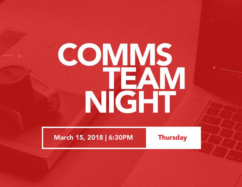 Comms Team Night - Digital Invitation Design