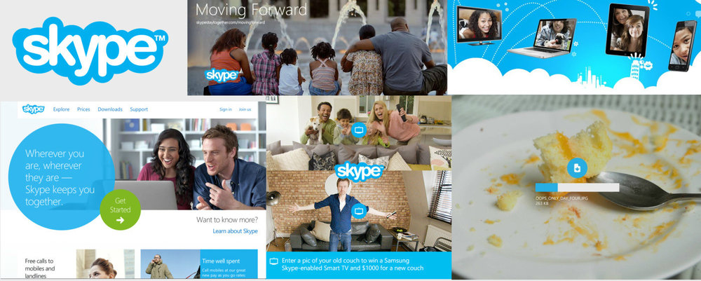 Skype use their signature brand blue to tie together all their services and marketing