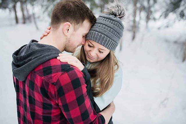 """Just wrap me in your arms and hold me close, let me rest my head against your chest, let your heart beat be my lullaby."" . . . . #breeorserphotography #engaged #engagementphotographer #princegeorgeweddingphotographer #winterwonderland #lovers #shesaidyes #somuchsnow #nikon #d750 #weddingseason2019 #winterpicnic #tribebop #bopbrides #bopgrooms #adventuresinpg #hellyapg #beautifulbc #marriage #mastinlabs"