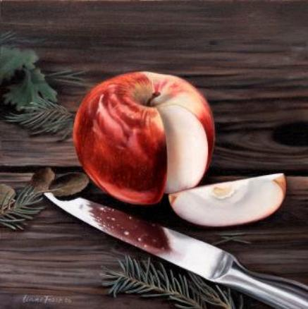 Apple and Knife    Oil on Panel 7x7