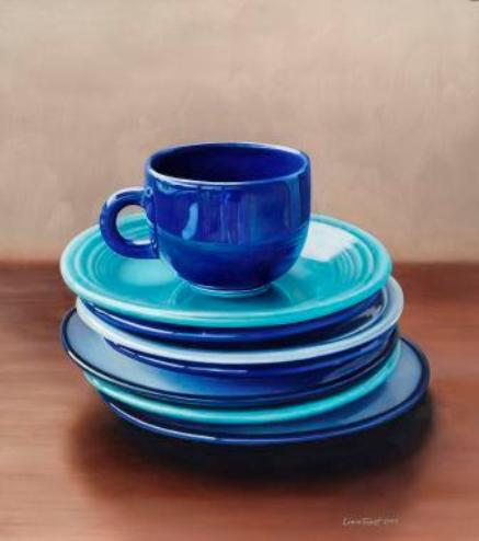 Cup with Plates    Oil on Panel 12x16