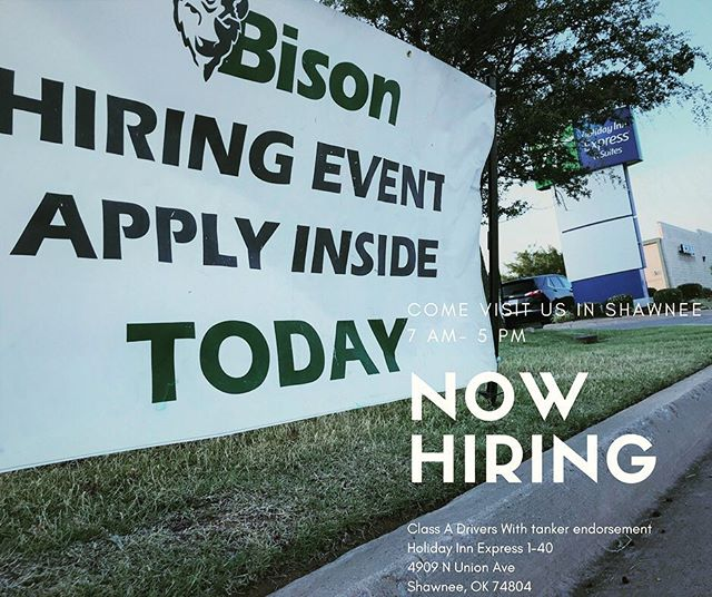 Today is the day!! We are in the Holiday Inn Express in Shawnee. We are hiring for many positions in all locations! CDL drivers come check out the awesome opportunities with Bison! We will be here until 5 PM! 4909 N Union Ave Shawnee, OK 74804