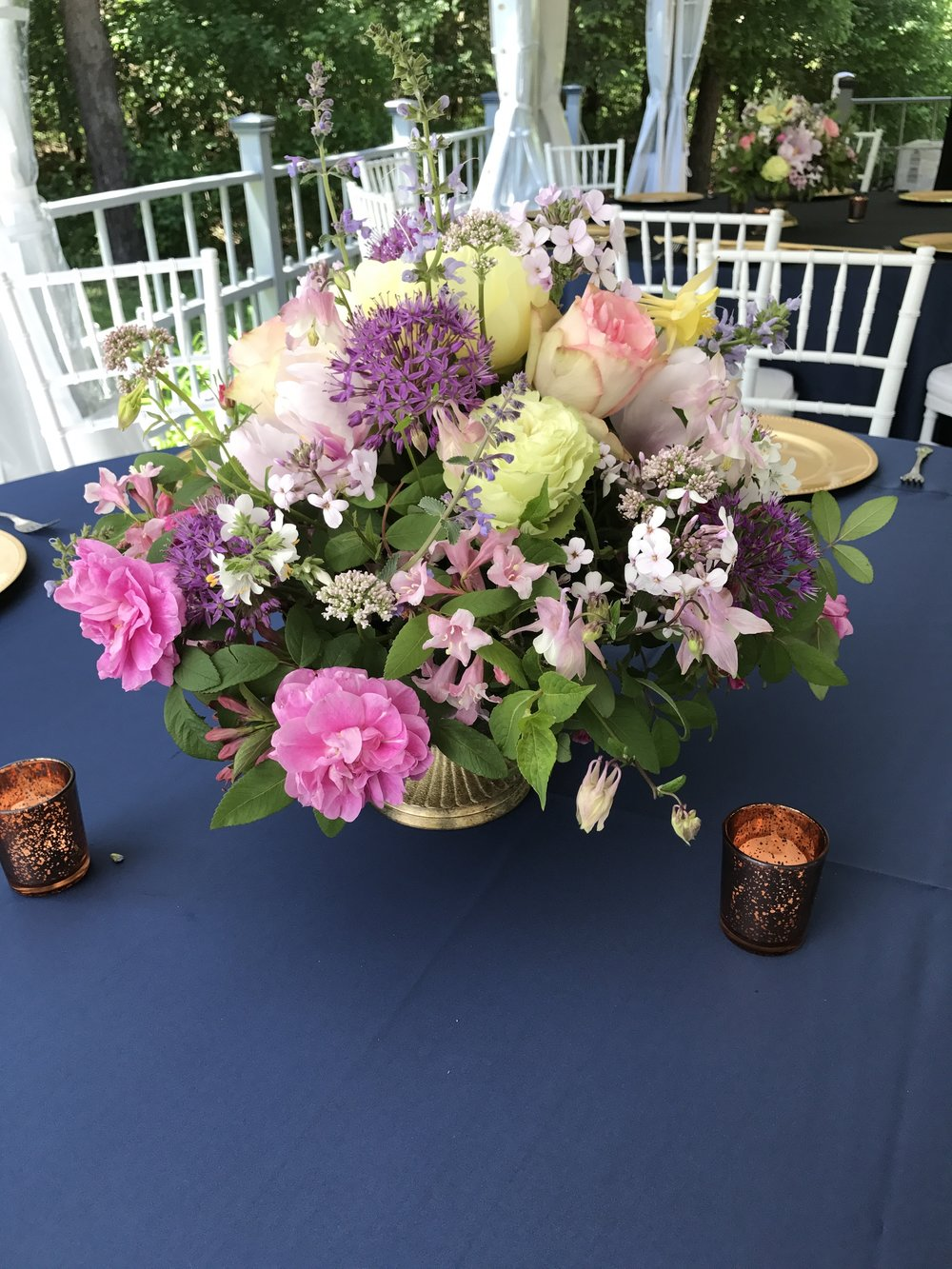 Late May brass chalet centerpiece