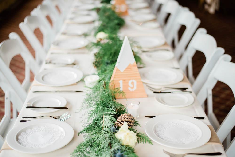 Adventurous Mountain Wedding Reception Detail Photography