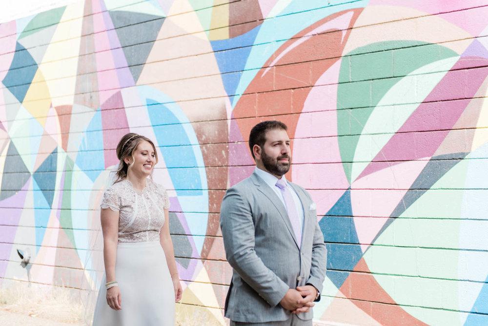 Bride and Groom Street Art First Look