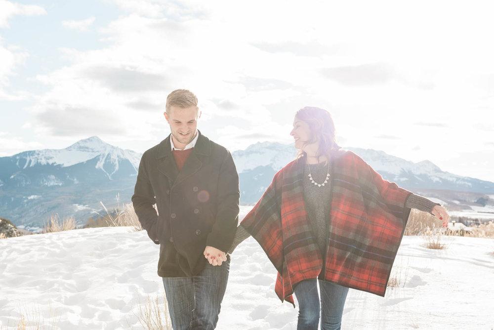 Telluride Snow Adventure Engagement Photography