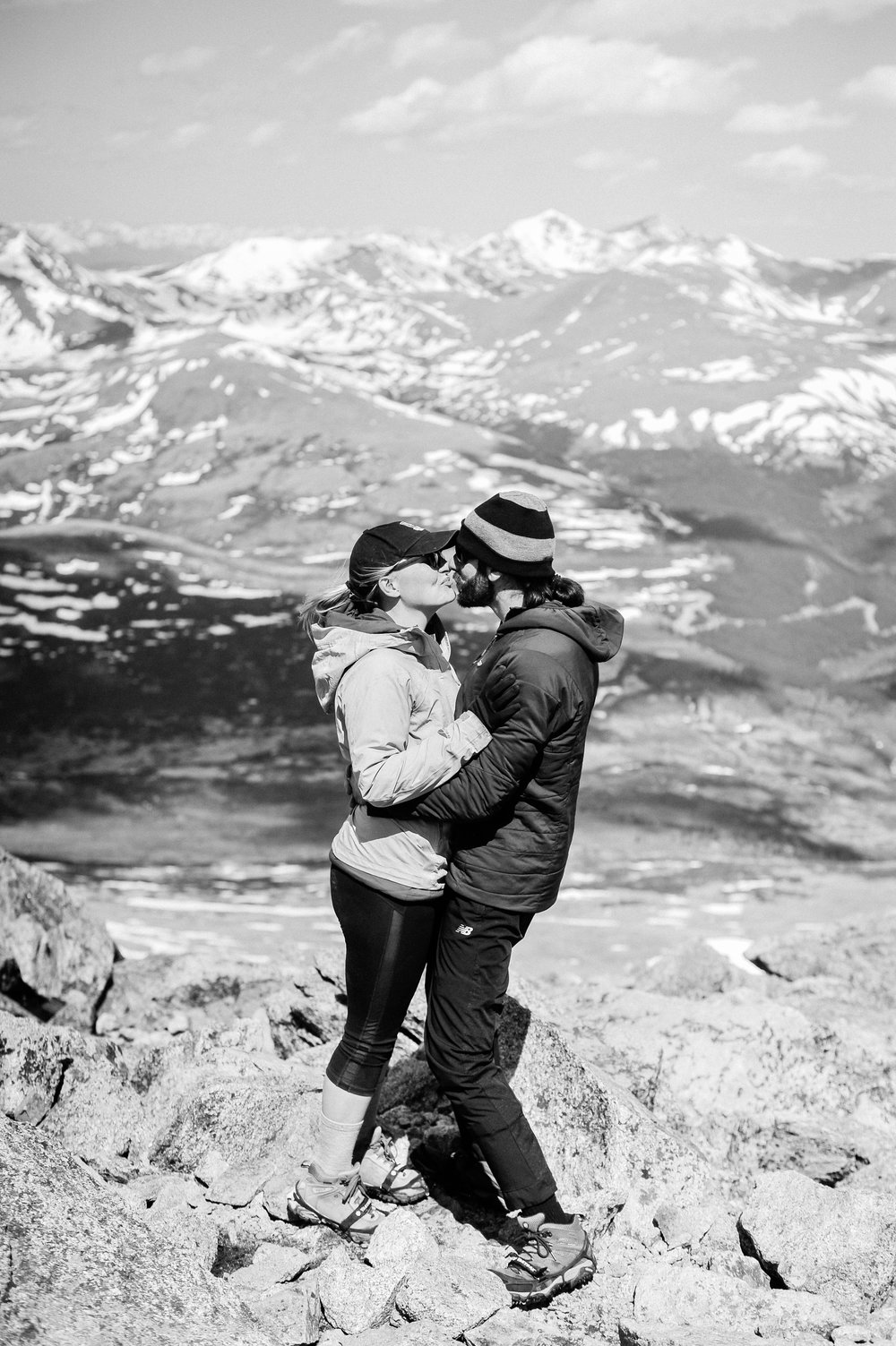 Adventure photography session hiking a 14er  sealed with a kiss
