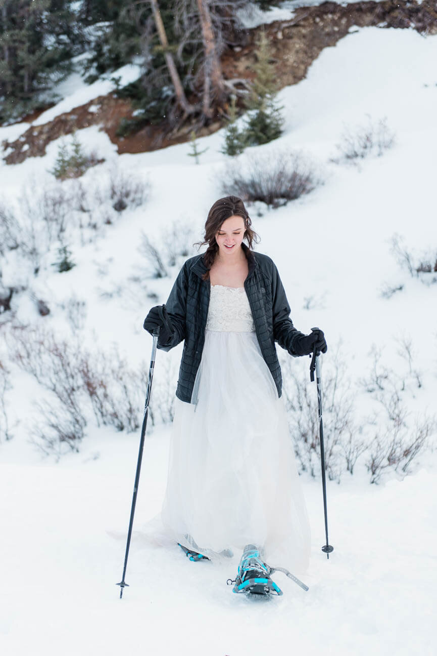Winter Snowshoe Destination Elopement in Frisco Colorado