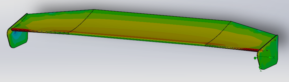 Surface plot of the pressures. I think bigger endplates will serve this wing nicely.