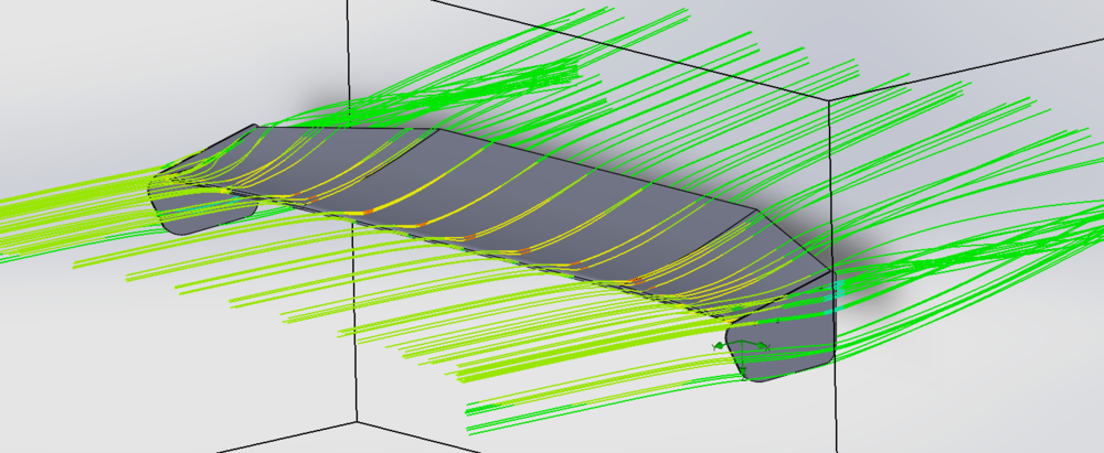 Flow trajectory through the wing.