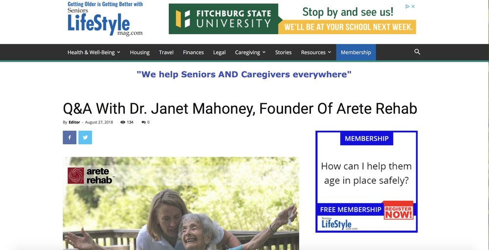 Dr. Janet Mahoney is the founder of Arete Rehab.
