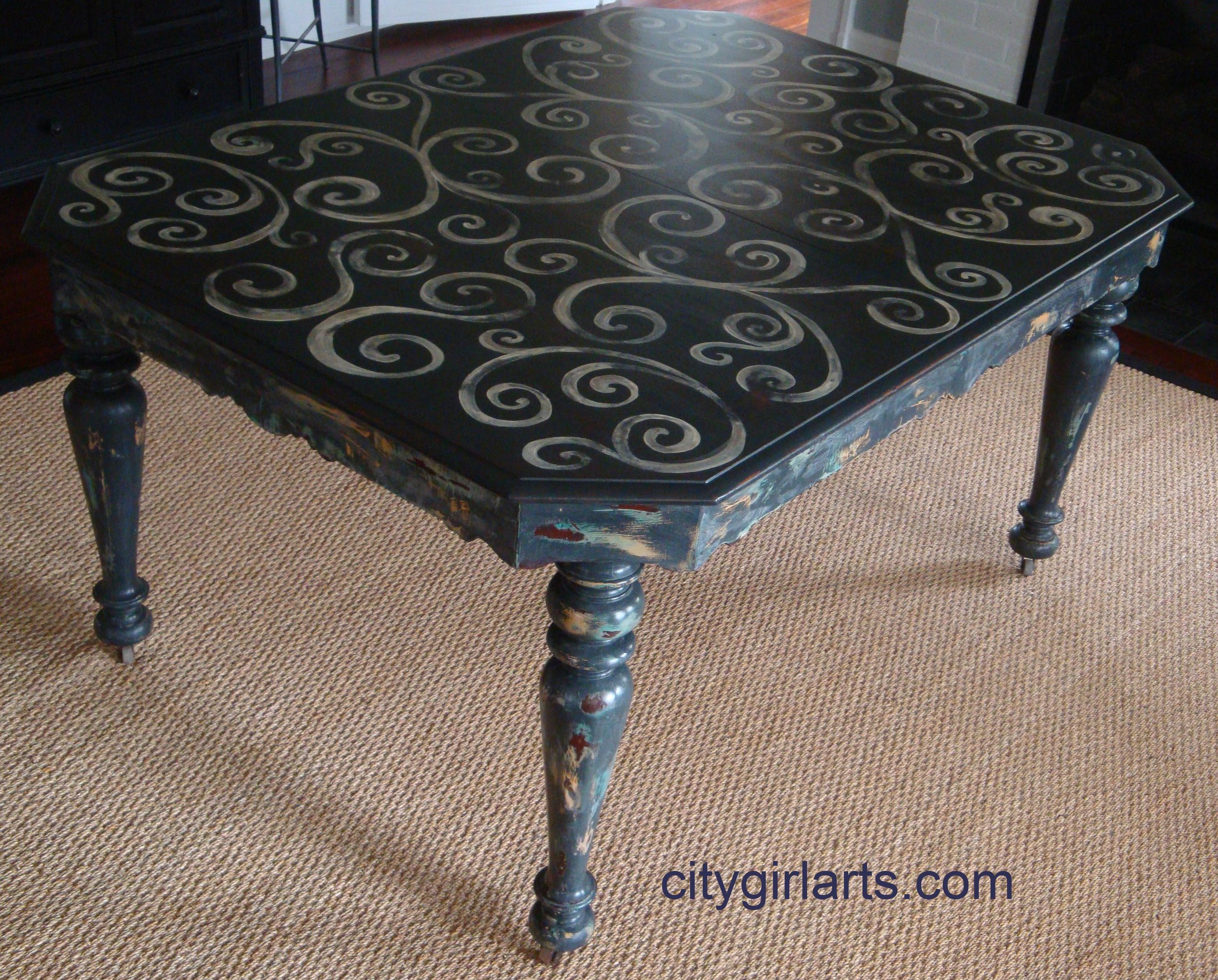 Antique French Farm Swirl Table