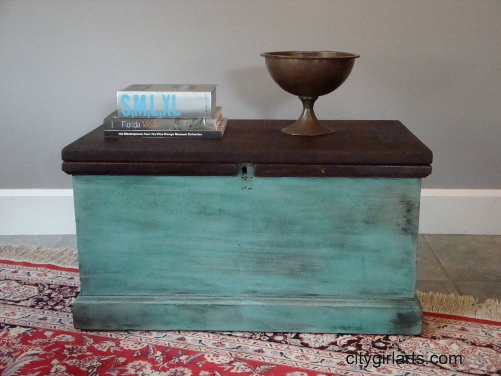 Antique Tool Chest in Turquoise