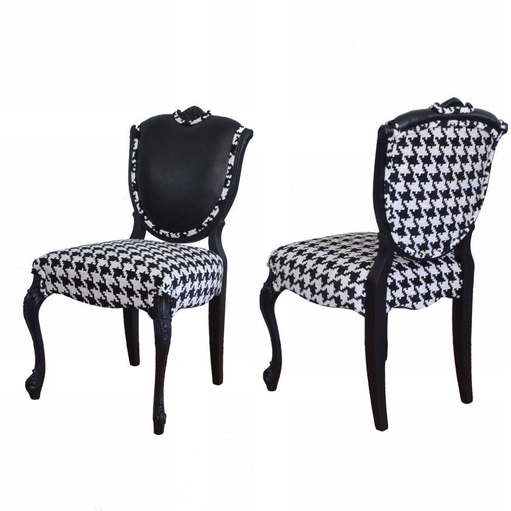 French Houndstooth Chair with Leather Accent