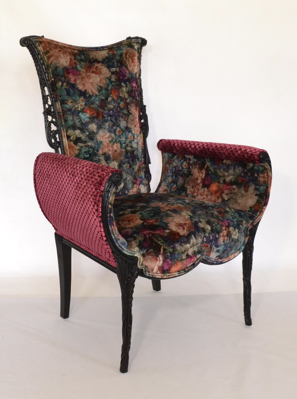 Italian Carved Fireside Chair in Designer Contrasting Velvets