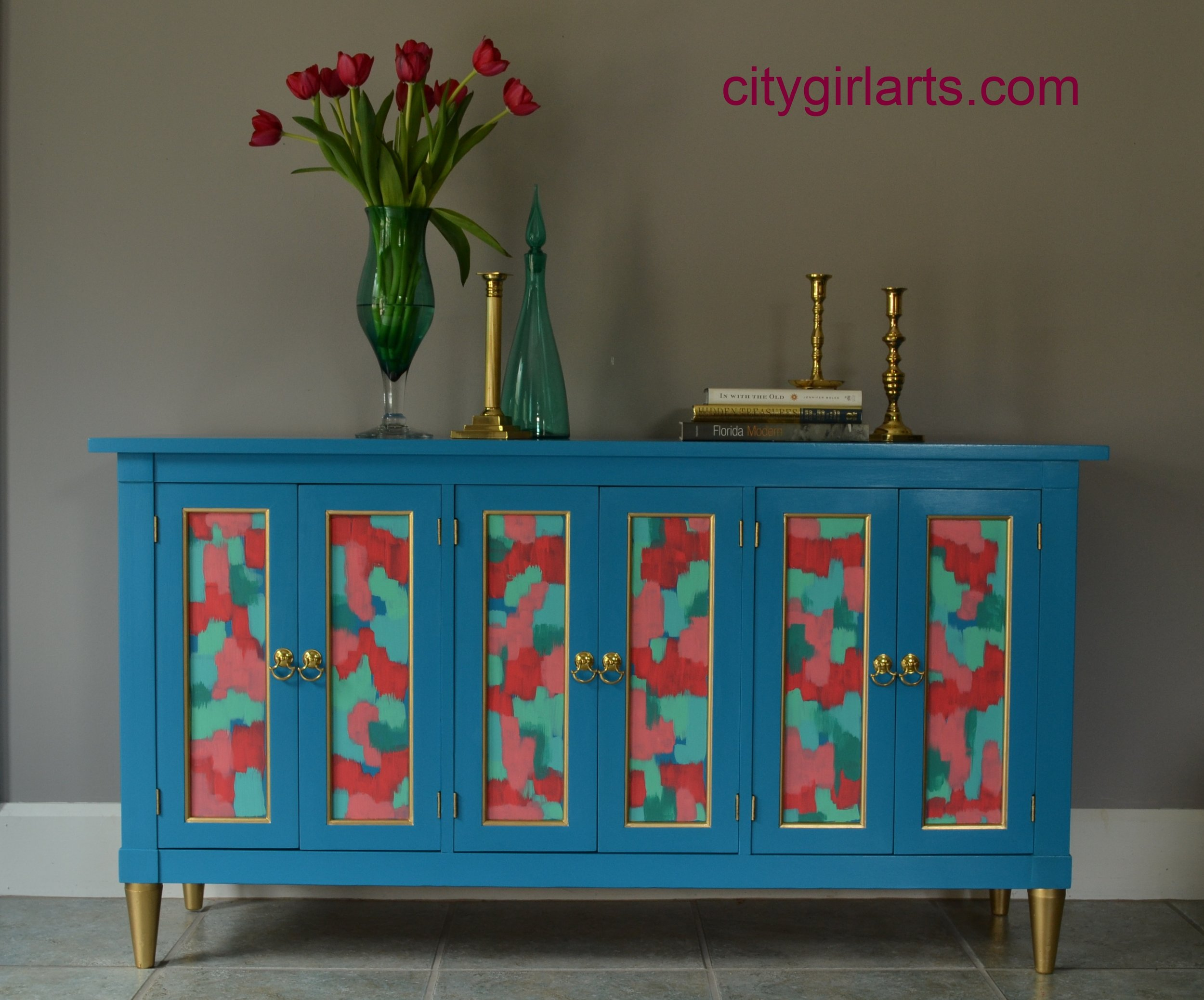 Abstract Painted Blue Green Credenza SOLD
