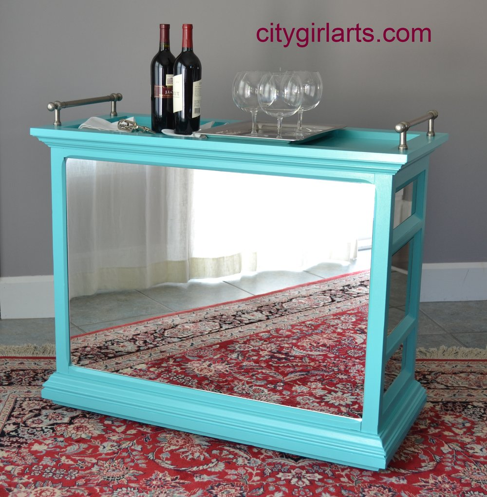 mirrored bar cart