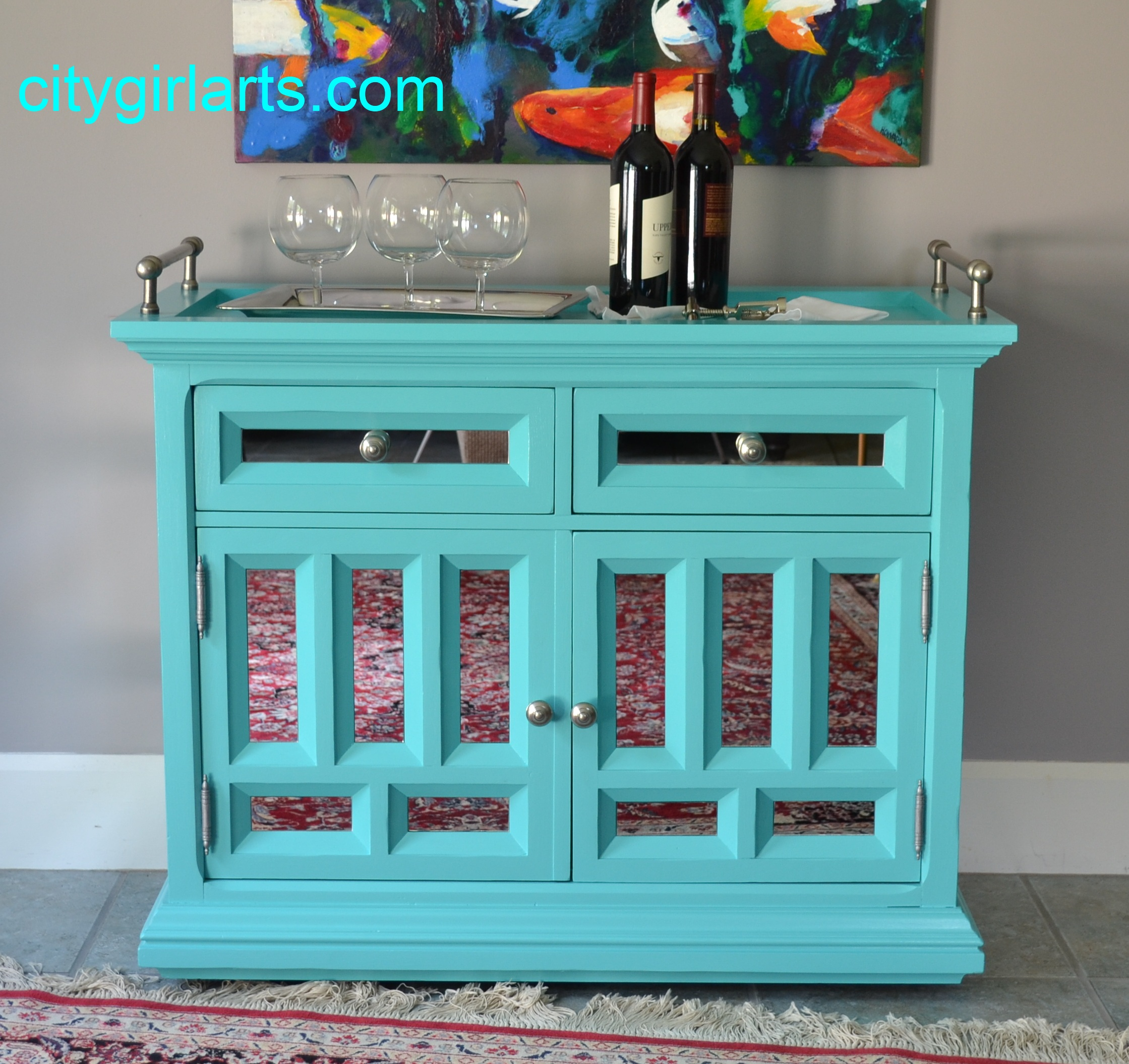 Mirrored Bar Cart Aqua Turquoise $775