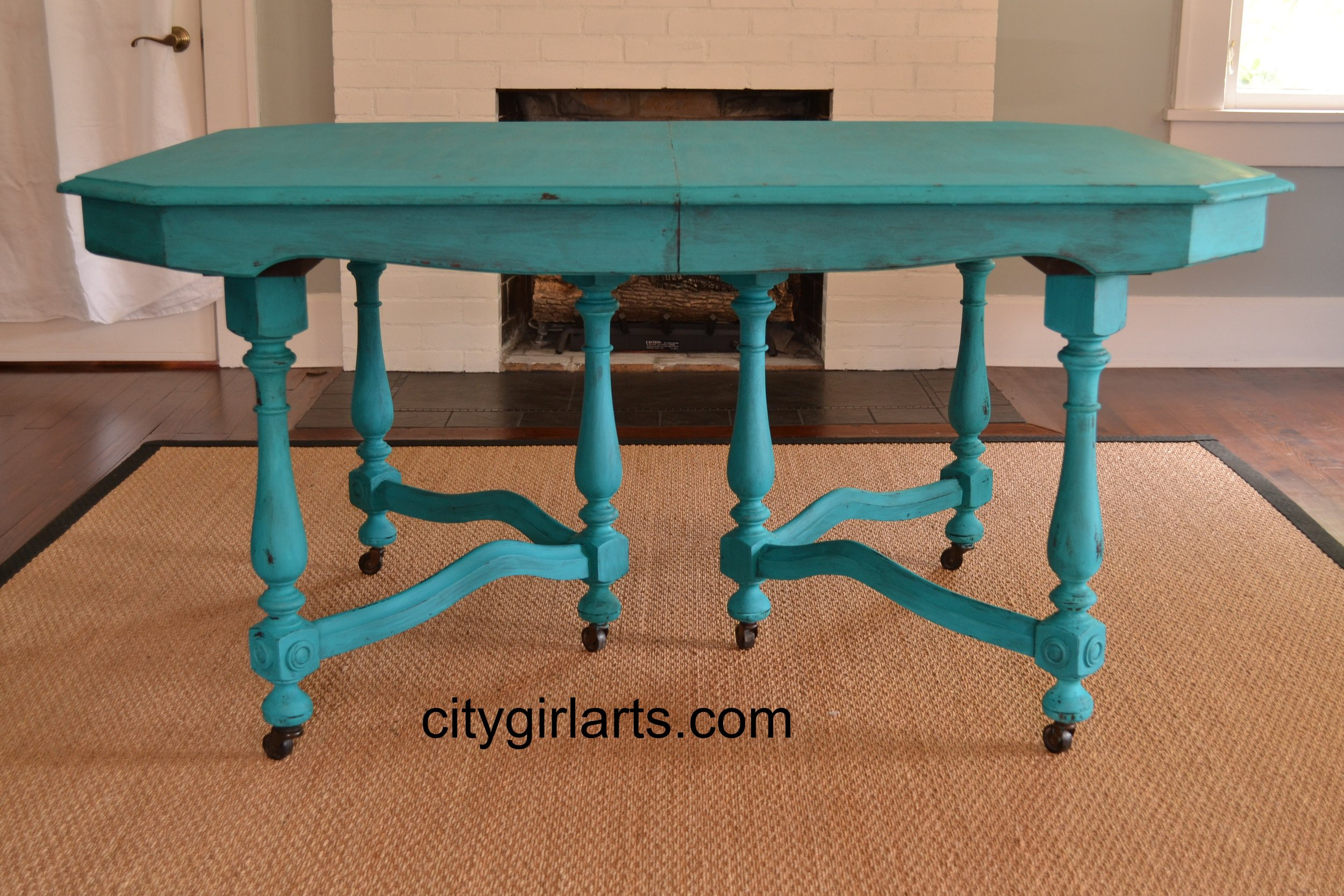 Turquoise Antique Dining Table - Milk Paint SOLD