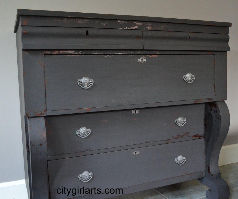 Antique American Empire Dresser Seal Grey Milk Paint