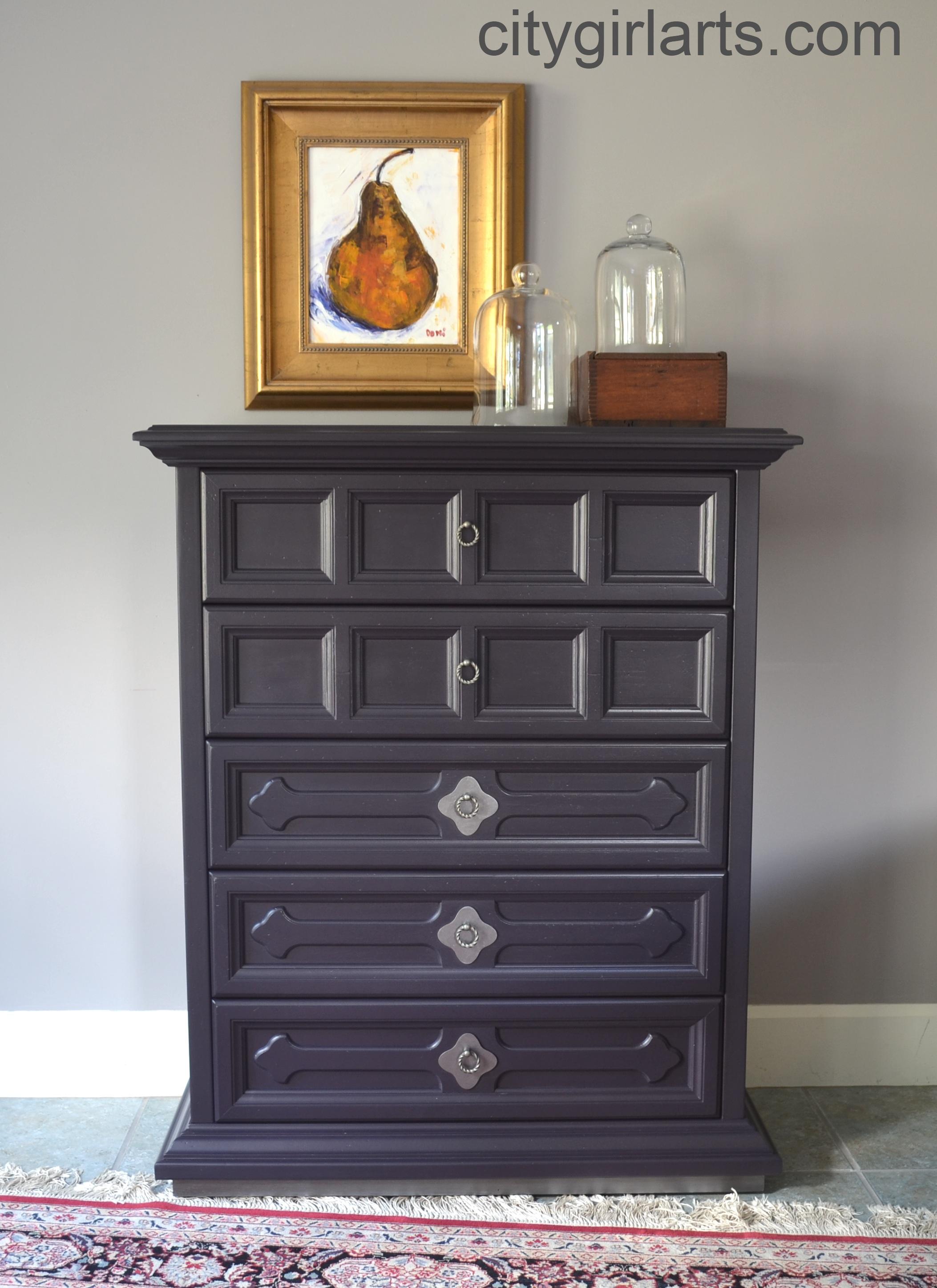Vintage Henredon Alvarado Highboy Gothic Eggplant Violet Purple Dresser