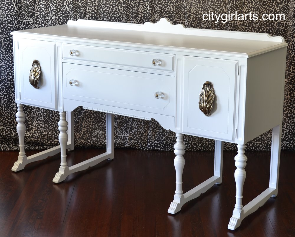 White Antique Buffet with Acanthus Pulls