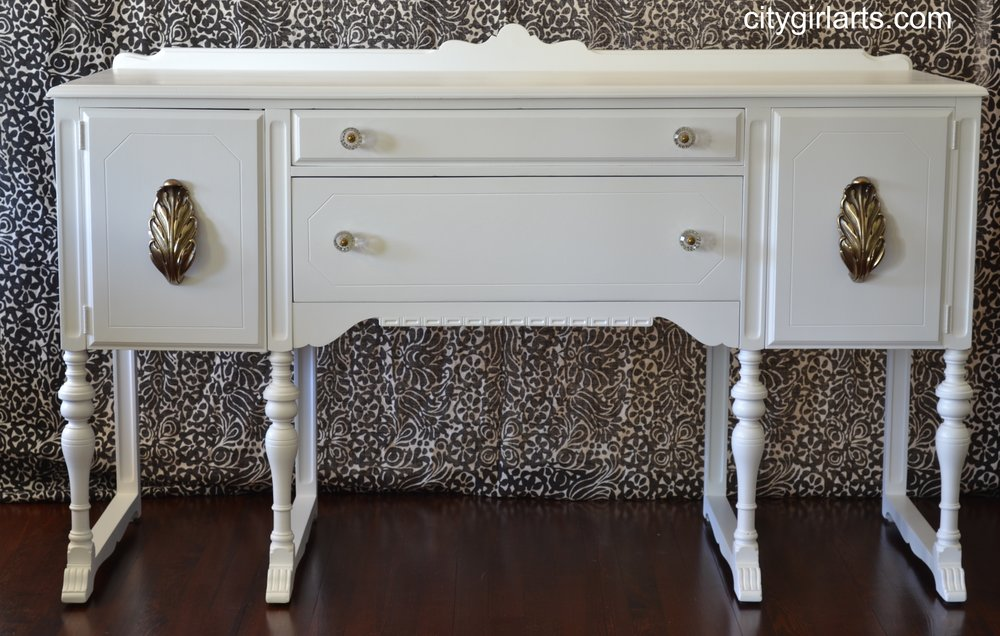 White Antique Buffet with Acanthus Pulls and Anthropologie knobs
