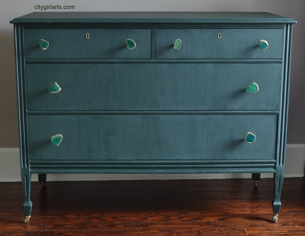 Peacock Green Milkpainted Antique Dresser
