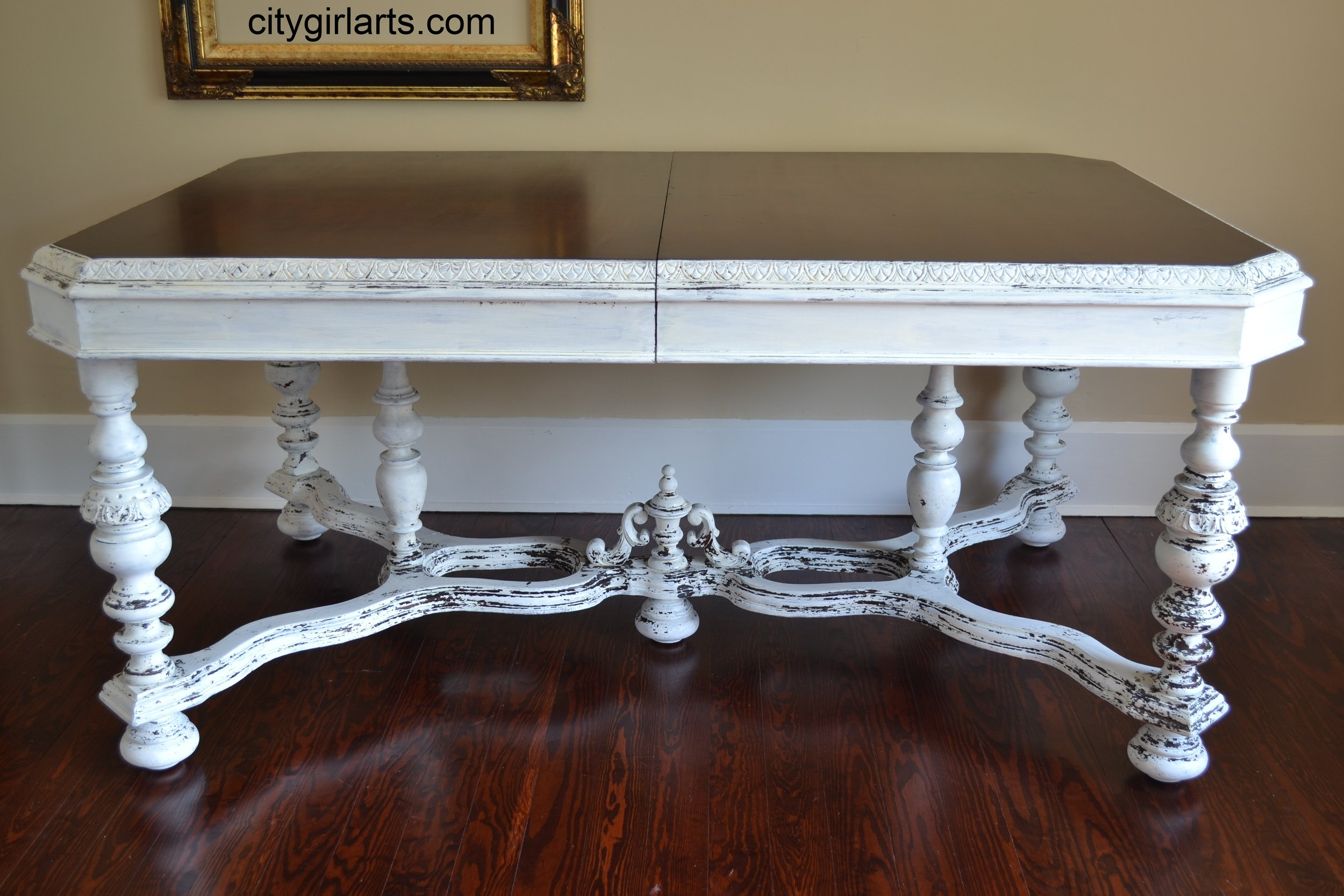 White Milk-Painted Antique Table SOLD