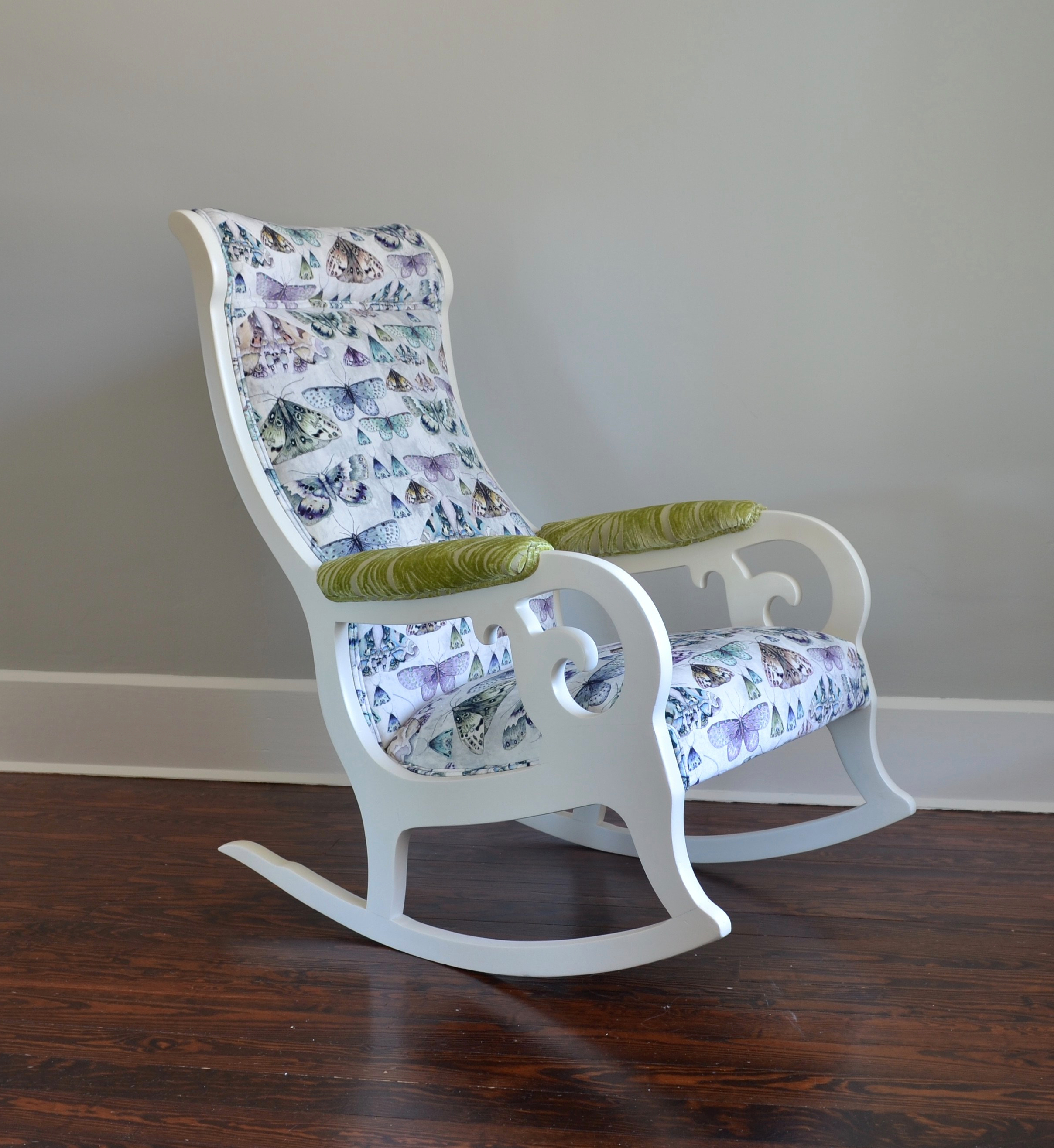 Antique White Butterfly Velvet Rocker