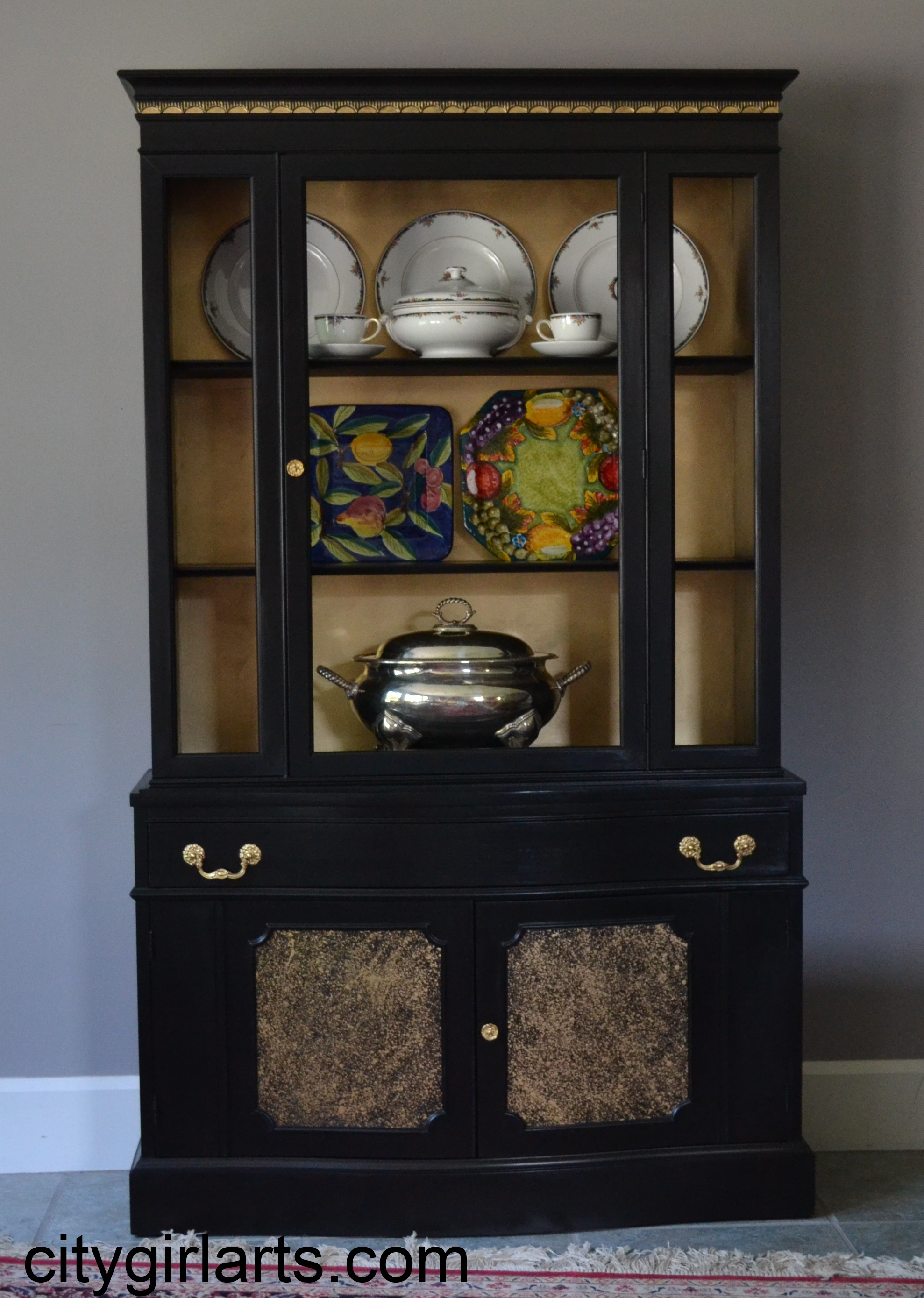 Jet Black Cabinet with Golden Accents SOLD