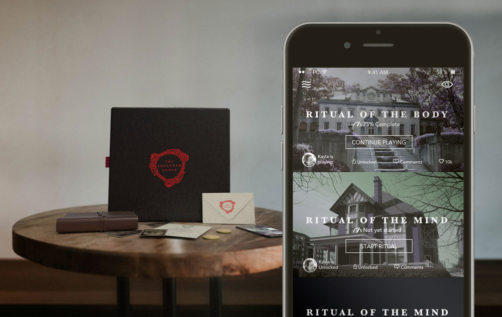 Step One - The Shrouded Order customer orders a ritual. A crate containing journals, letters, photos and other articles that aid in solving the first mystery are delivered to the customer. Also included is a QR code containing access to the Shrouded Order app.
