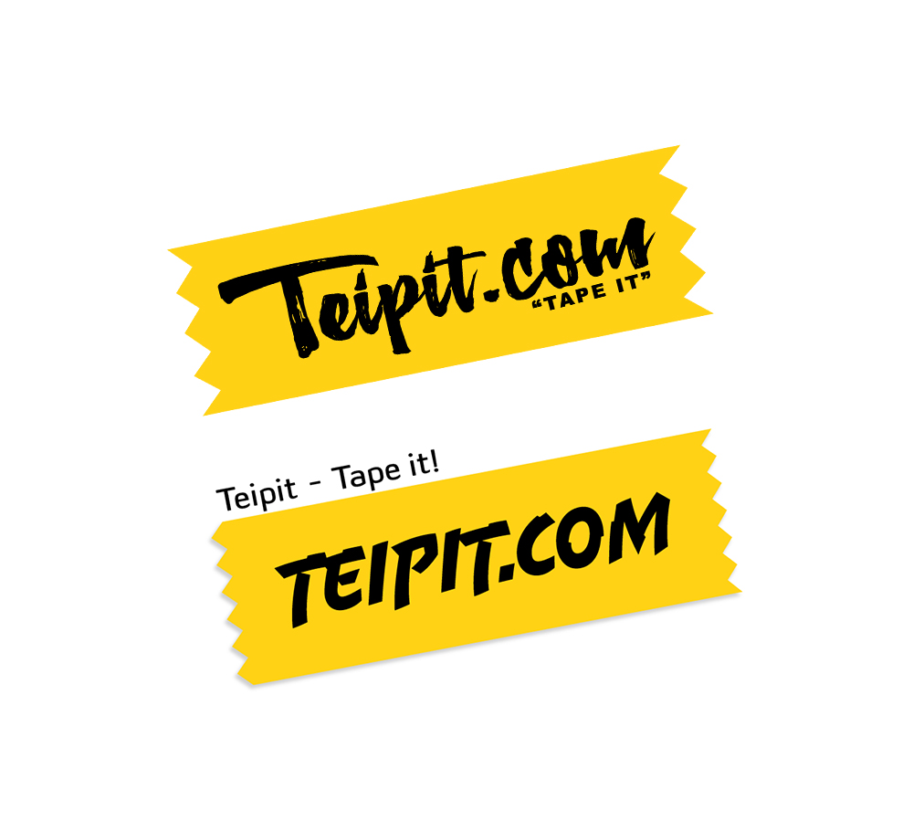TEIPIT.COM  Brand name ideation/creation + website teipit.com // Slogan // Logo concept // Brand Colors -If the purpose of your logo is to sell, it needs to be simple, stark, and eye-catching. The yellow draws the eye to a proposition that is clear as day: tape it!