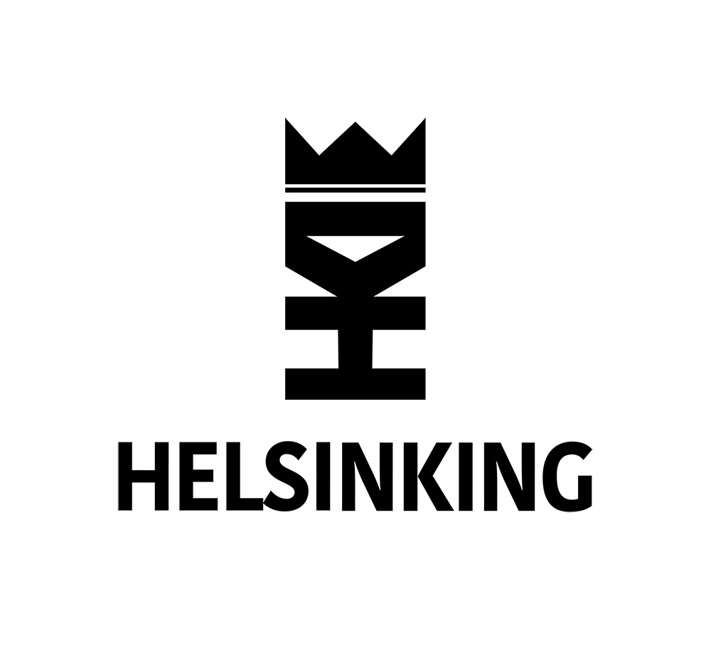 HELSINKING  Creating the logo and the typography for the CVreative Media Company Helsinking. -The Helsinking logo consists of an H, a K, and an I (representing 'Helsinki'), and a crown. Together, they form a person who symbolizes groundbreaking creativity that believes in people.