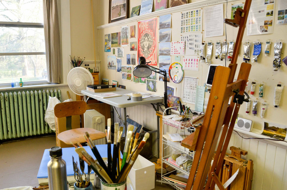 studio space - All of our rooms and studios are currently leased. Contact us to get your name on the waiting list. Most classrooms are spacious, with original blackboards, and nice closet/storage space. Some rooms have windows facing Onancock Creek and other rooms are much smaller.