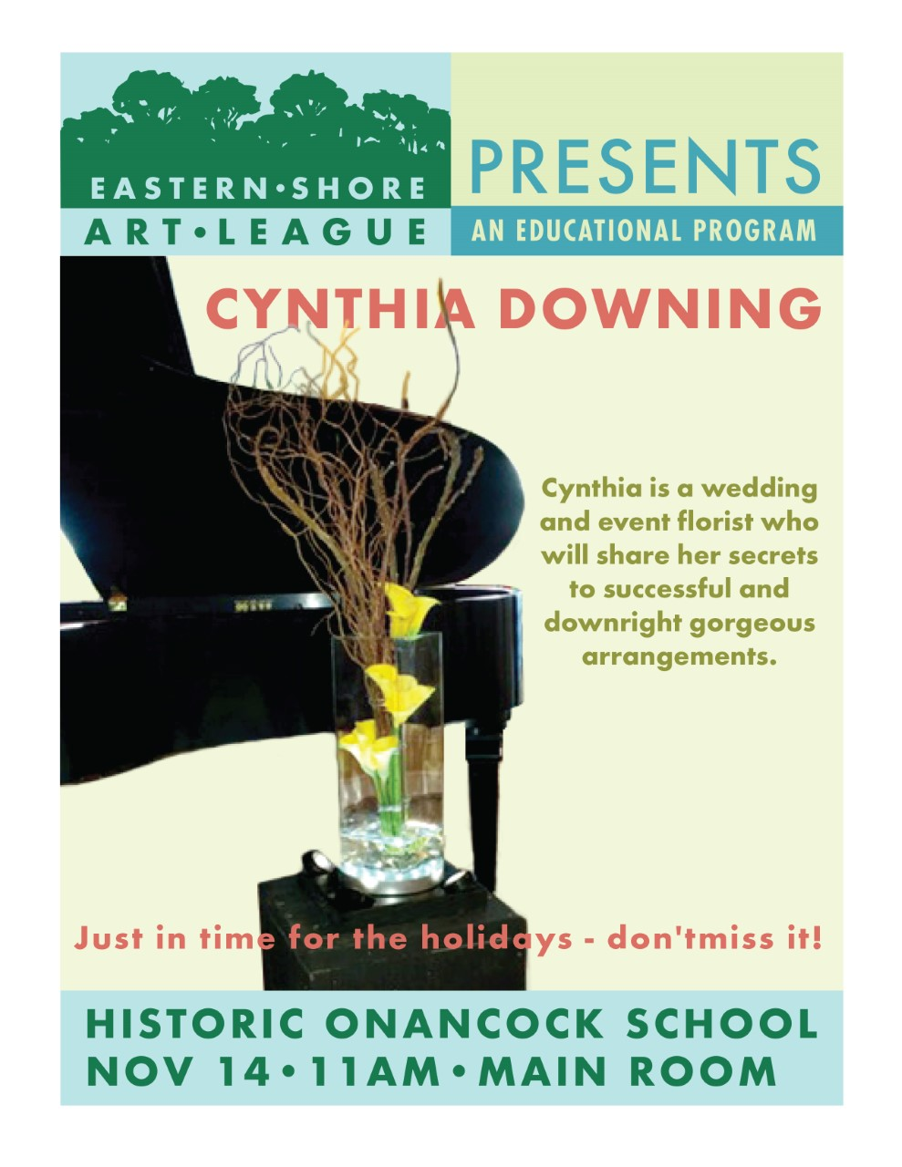 FREE - Cynthia Downing is a wedding and event florist who will share her secrets to successful and downright gorgeous arrangements.Just in time for the holidays!