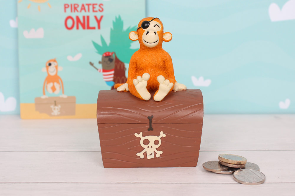 Pirate monkey money bank and metal sign