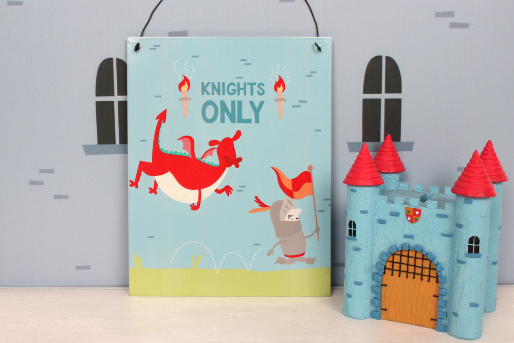 Knight adventure metal sign and castle money bank