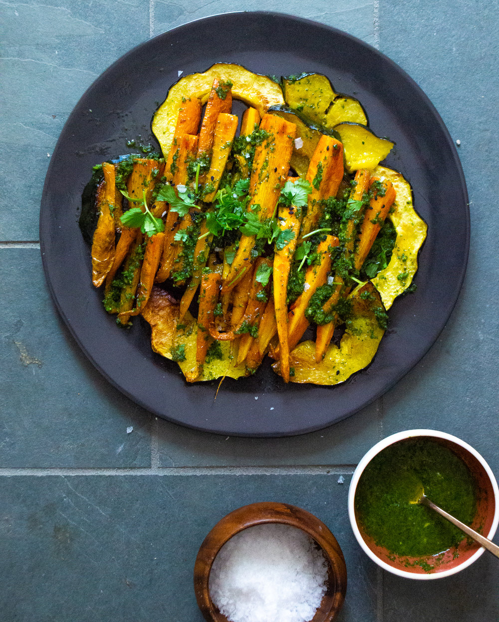 roasted acorn squash and carrots with carrot top pesto
