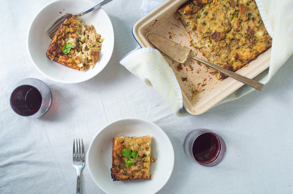 savory bread pudding with cheese, bacon and vegetables